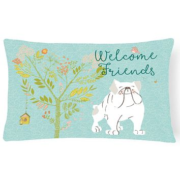 Welcome Friends English Bulldog White Canvas Fabric Decorative Pillow BB7603PW1216