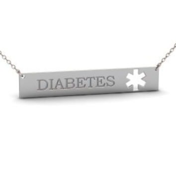 Sterling Silver Medical Alert Diabetes Bar Necklace