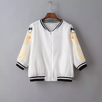 White Fish Embroidered Zipper Jacket