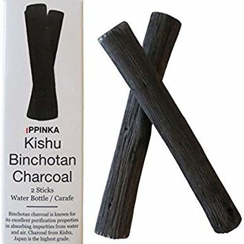 IPPINKA Portable Kishu Binchotan Charcoal Water Purifying Sticks, Set of 2 Sticks, Filters Personal-Sized Water Bottles