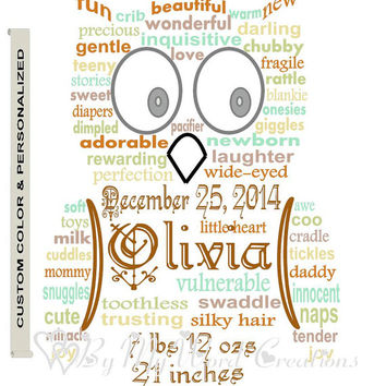 Personalized Baby Gift Art, Nursery Birth Art, Baby Owl Word Art, Unique Handmade Word Art Typography, PRINTABLE DIGITAL FILE