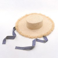 Muchique Boater Hats with Ribbon Tie Raffia Straw Summer Sun Hat for Women Vintage Hats with Flat Brim and Fray Edge