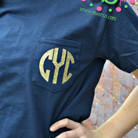 GLITTER MONOGRAM Heat Press Pocket Tee - Short Sleeve - Sorority Gift - Bridesmaid Gift