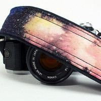 Camera Strap, Galaxy No.10, Hand Painted, dSLR or SLR, Cosmos, Nebula, OOAK