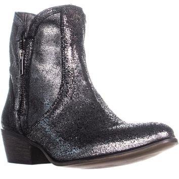 Steve Madden Zipstr Side Zip Block Heel Boots, Pewter Multi, 9 US