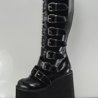 "Demonia Swing 815 Black Multi Strap Goth Punk Knee Boot 5.5"" Platform Vegan"