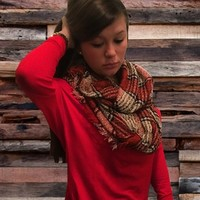 Red Plaid Infinity Scarf from Something Cute Boutique