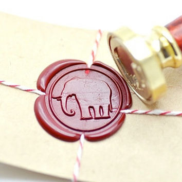 Elephant Animal B20 Gold Plated Wax Seal Stamp x 1