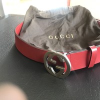 Authentic Gucci Men's Red Leather Belt 105/42