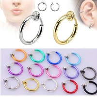 ac DCCKO2Q 2pcs 10x13mm Colorful Fake Nose Ring Goth Punk Lip Ear Nose Clip On Fake Piercing Nose Lip Hoop Rings Earrings