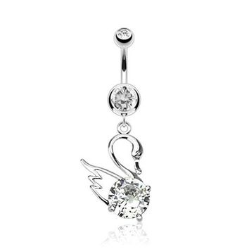 Clear CZ Centered Swan Dangle Belly Button Ring