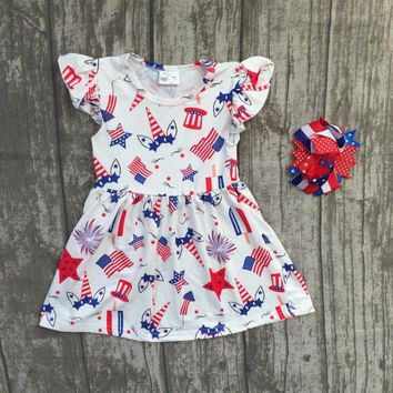 baby girls Summer dress children girls unicorn July 4th dress children unicorn milk silk dress boutique dress with matching bows