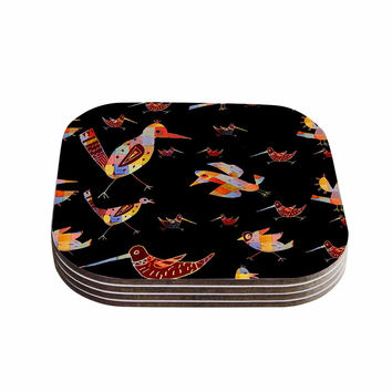 """Marianna Tankelevich """"Birds on Black"""" Black Abstract Coasters (Set of 4)"""