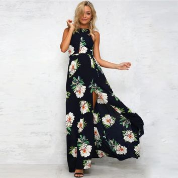 Split Backless Flower Print Maxi Dress