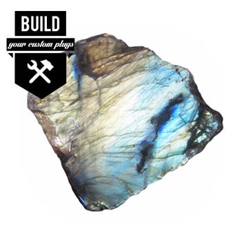 "Build Your High Flash Labradorite Stone Plugs (2g-3"")"