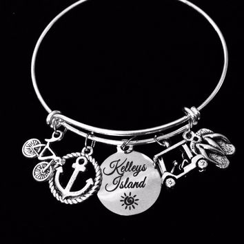Kelleys Island Jewelry Lake Erie Ohio Expandable Charm Bracelet Silver Adjustable Bangle One Size Fits All Gift Bike Bicycle Golf Cart Flip Flops Anchor