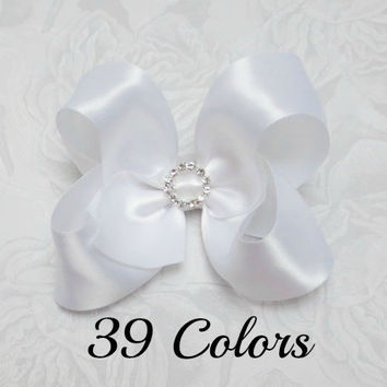 Satin Hair Bows, White Hair Bow, Girls Hair Bows, Toddler Hair Bows, Hair Bows for Girls, White Satin Hair Bows, Hair Bows for Toddlers, Bow