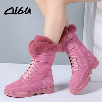 O16U Women mid-calf Boots Shoes Suede Leather Lace up Zip Platfom Boots Ladies Faux Fur Snow Boots Women Pink winter 2017 NEW