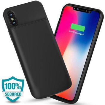 ESBON8C ALCLAP iPhone X Battery Case, 3600mAh Slim Portable Charger Case Protective Charging Case for iPhone X/10(5.8 inch)Extended Battery Pack Juice Bank Cover/Lightning Cable Input Mode-Black