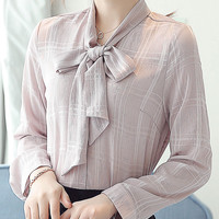Nude Pink Bowknot Long Sleeve Plaided Shirt