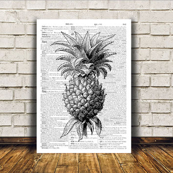 Kitchen decor Pineapple poster Retro print Antique art RTA268