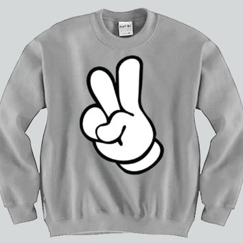 Peace Sign Mickey Mouse hands Unisex Crewneck Funny and Music