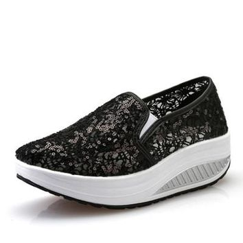 Women Casual Shoes  Lace Sequined Breathable Wedge