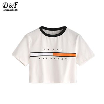 Dotfashion White T-shirt Women Summer Graphic Print Contrast Neck Sexy Summer Crop Top 2017 Casual Short Sleeve Letter T-shirt