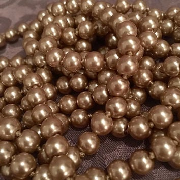 "1920s style 90"" LONG Pearls Gatsby Faux light champagne light brown beige Pearl Necklace 20's Downton Abbey Wrap Flapper Accessories"