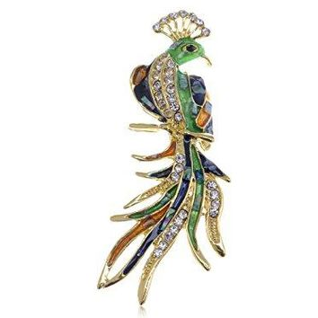 Alilang Golden Tone Abalone Sea Shell Painted Clear Crystal Rhinestone Phoenix Pin Brooch