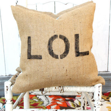 LOL Burlap & Chevron 18 Pillow Hand Painted by MySwallowsNest