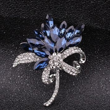 Hot sell Vintage Style Crystals flower Brooch Women Brooch roser Pin Costume jewelry