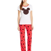 Disney Women's Ladies Knit Pajama Set Mickey, White, X-Large