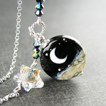 Night Ocean Wave Moon Necklace Sterling Silver Beach Artisan Lampwork Glass Pendant Necklace Celestial Swarovski Star Necklace