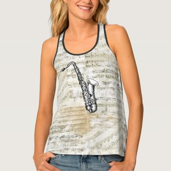 Vintage Saxophone Sheet Music Tank Top