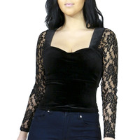 Black Gothic Sweetheart Velvet & Lace Top Shirt