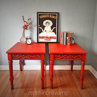 Red Side Tables - Pair of Decorative Distressed & Aged Red Side Tables // SOLD
