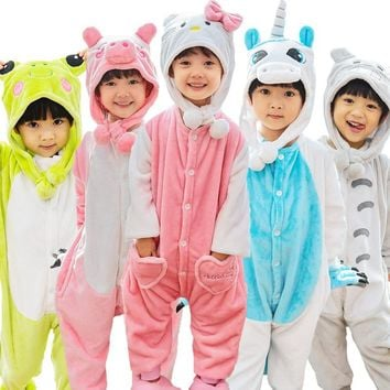 Children Totoro Cow Stitch Pajamas Kids Pokemon Pikachu Unicorn Onesuits Costume Boy Girls Winter Cosplay Jumpsuits With Hat