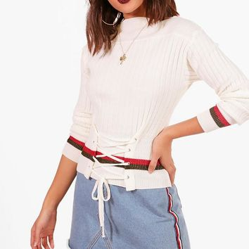 Hayley Crew Neck Lace Up Stripe Jumper | Boohoo