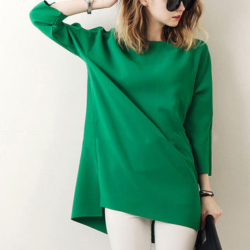 Green Long Sleeve Tunic Blouse