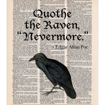 The Raven - Edgar Allan Poe Quote - Dictionary Print