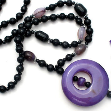 Black Onyx and Purple Agate Bead Necklace