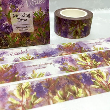 lavender washi tape 10M x 3cm Violet flower purple lavender EXTRA WIDE Masking tape plant diary gardening planner scrapbook decor