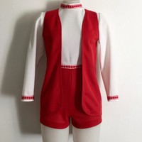 Vintage 1970s 'Lady Monaco' two piece red and white knitted playsuit with cotton trims and matching waistcoat