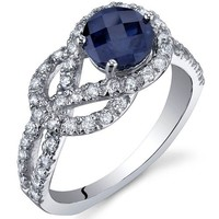 Created Sapphire Ring Sterling Silver Rhodium Nickel Finish Round Shape CZ Accent Sizes 5 to 9