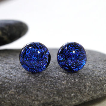 Bright Blue Sparkling Glass Studs,Titanium Hypoallergenic Post & Backing, Dichroic Glass, Fused Jewelry, Blue Glass, Handmade in Sweden,