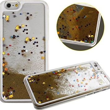 Eforcase 3D Aquarium Decor Clear Case for iPhone 6 4.7 Inch,Gold Fashion Funny iPhone 6 Liquid Water Case,Cute Flowing Stars Case Cover for iPhone 6 4.7 Inch+Free Cellphone Stand