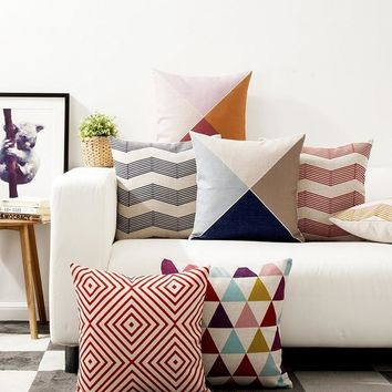 Simple Geometric Color Throw Massager Decorative Vintage Nap Pillow Cover Fiber Flax Emoji pillows Home Decor Gift to Kid