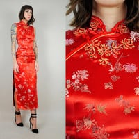 vtg 60's CHINESE silk satin Dress Mandarin collar embroidered New Year High Slit bandage gown Petite xs