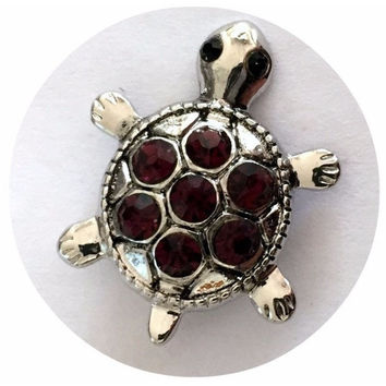Dark Purple Jewel Turtle Snap 20mm for Snap Charm Jewelry